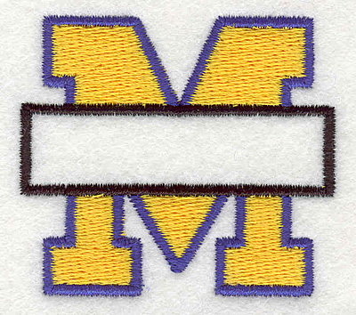 """Embroidery Design: M Banner1.94"""" x 2.16"""""""