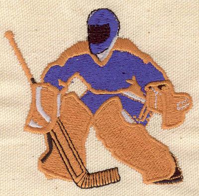 Embroidery Design: Hockey goalie 3.12w X 2.96h