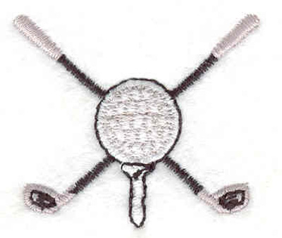"Embroidery Design: Golf Ball and clubs 1.62""w X 1.43""h"