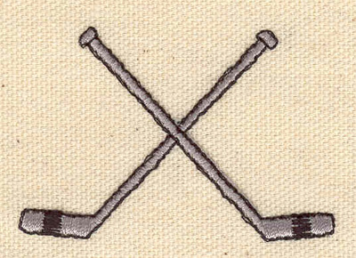Embroidery Design: Crossed hockey sticks  2.38w X 1.62h