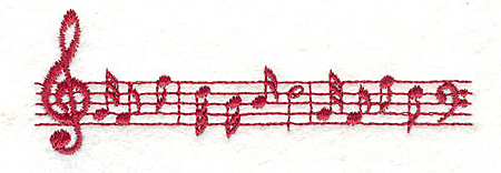 "Embroidery Design: Music Bar Notes1.24"" X 3.78"""