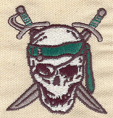 Embroidery Design: Pirate skull 1.06w X 2.46h