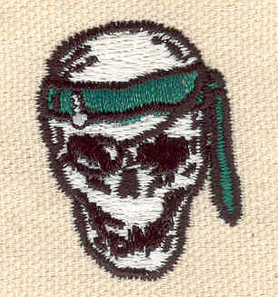 Embroidery Design: Pirate skull 1.12w X 1.45h