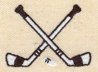 Embroidery Design: Crossed hockey sticks with puck 2.36w X 1.72h