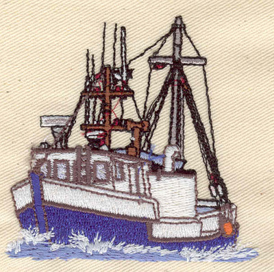 Embroidery Design: Fishing Boat 2.90w X 2.80h