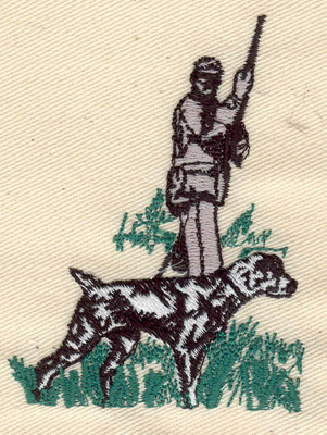 Embroidery Design: Hunter with dog 2.35w X 3.15h