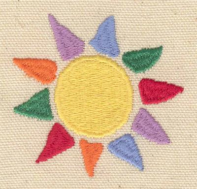 Embroidery Design: Sun multi colored 2.46w X 2.35h