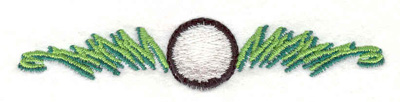 "Embroidery Design: Golf Ball in grass 3.76""w X 0.72""h"