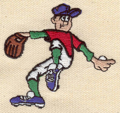 Embroidery Design: Baseball pitcher 2.63h X 2.49h