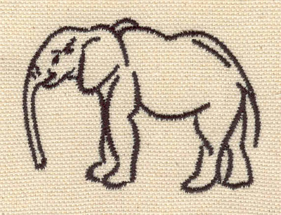 Embroidery Design: Elephant outline 2.43w X 1.78h
