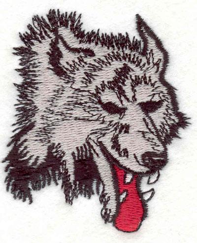 "Embroidery Design: Wolf head K 2.20""w X 2.50""h"