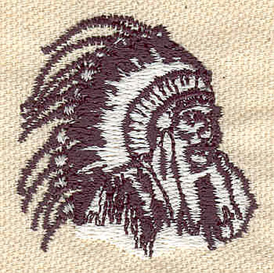 Embroidery Design: Indian chief 1.56w X 1.57h