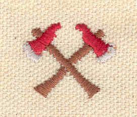 Embroidery Design: Crossed axes mini 0.76w X 0.92h