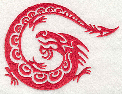 "Embroidery Design: Dragon stylized4.50""Hx3.50""W"