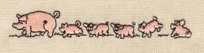 Embroidery Design: Pig family 4.27w X 0.62h