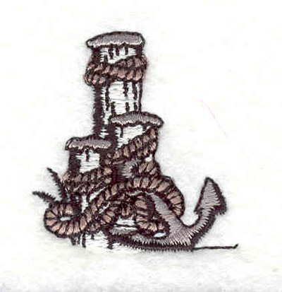 """Embroidery Design: Anchor with rope on post 1.46""""w X 1.39""""h"""