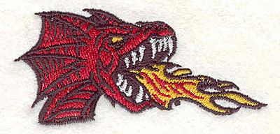 "Embroidery Design: Dragon head2.86""Hx1.39""W"