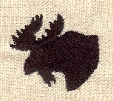 Embroidery Design: Moose head silhouette 1.31w X 1.52h