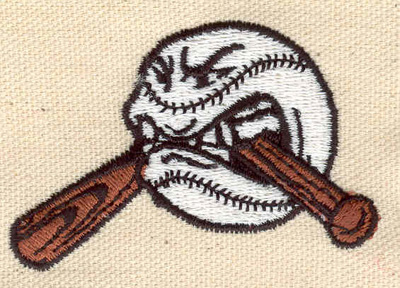 Embroidery Design: Ball with broken bat 1.78w X 2.16h