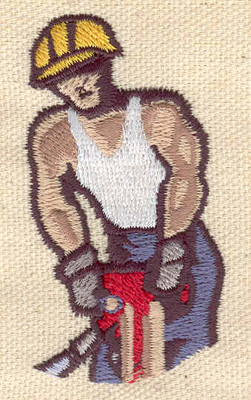 Embroidery Design: Construction worker 2.50w X 1.38h