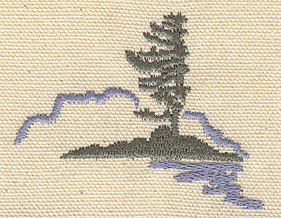 Embroidery Design: Northern scene with evergreen 2.01w X 2.59h