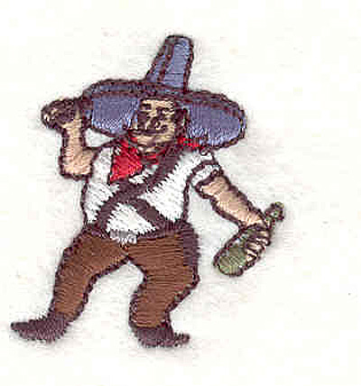 """Embroidery Design: Cowboy wearing sombrero 1.17""""W x 1.37""""H"""