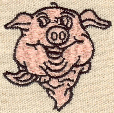 Embroidery Design: Pig with scarf 2.30w X 2.30h