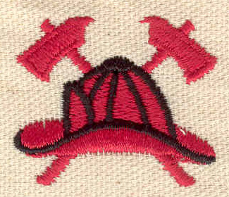 Embroidery Design: Fire helmet and axes 2.80w X 2.00h