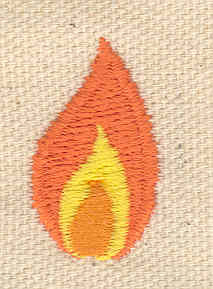 Embroidery Design: Flame 0.70w X 1.10h