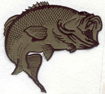 "Embroidery Design: Bass B 5.20""w X 4.90""h"
