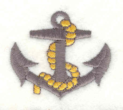 "Embroidery Design: Anchor with rope A 3.25""w X 2.35""h"