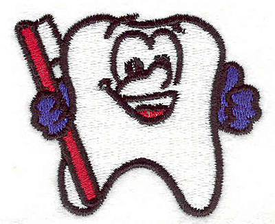 """Embroidery Design: Tooth with brush 2.50""""w X 2.00""""h"""
