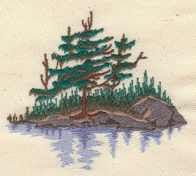 Embroidery Design: Rocky island with trees 3.25w X 2.90h