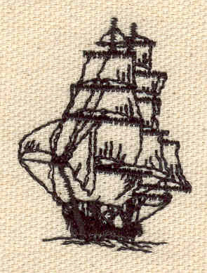 Embroidery Design: Sailing ship 1.26w X 1.67h