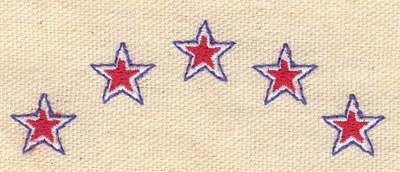 Embroidery Design: Stars five 3.25w X 1.20h