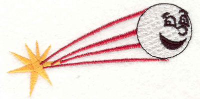 "Embroidery Design: Flying golf ball 3.79""w X 1.96""h"