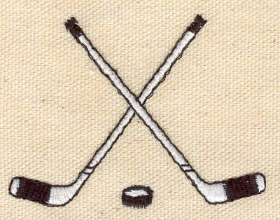 Embroidery Design: Crossed hockey sticks with puck 2.57w X 1.94h