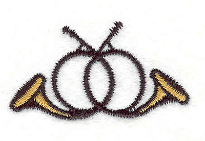 """Embroidery Design: French Horns 1.11"""" X 2.00"""""""