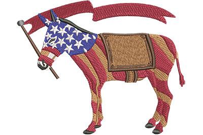 Embroidery Design: Democrat Donkey Stripes Lg 4.48w X 3.58h