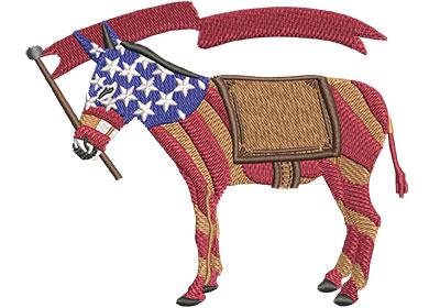 Embroidery Design: Democrat Donkey Stripes Med 3.98w X 3.18h