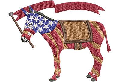 Embroidery Design: Democrat Donkey Stripes Sm 3.48w X 2.78h