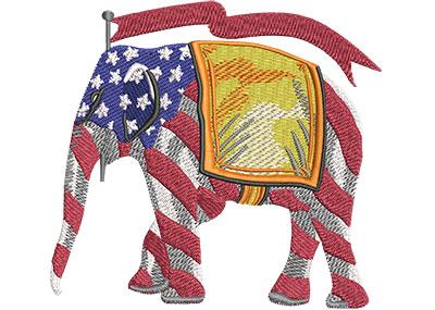 Embroidery Design: Republican Elephant Stripes Lg 4.50w X 4.18h