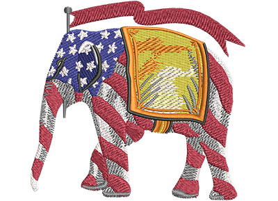Embroidery Design: Republican Elephant Stripes Med 4.00w X 3.72h