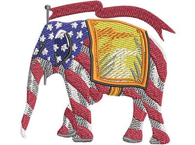 Embroidery Design: Republican Elephant Stripes Sm 3.50w X 3.25h