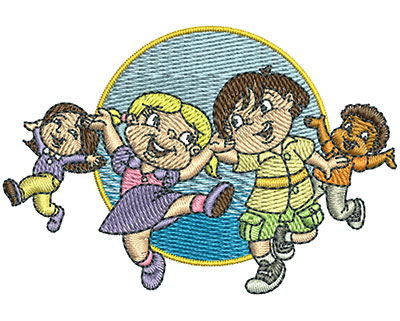 Embroidery Design: Kids Dancing Sm 3.00w X 2.05h