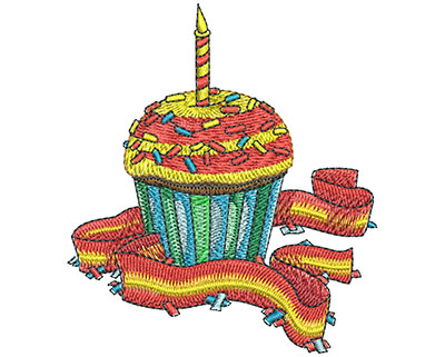 Embroidery Design: Birthday Cupcake Lg3.50 in x3.05 in