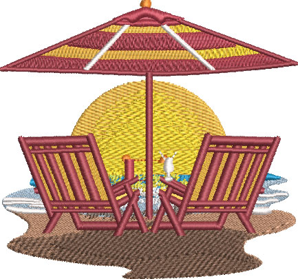 Embroidery Design: Beach Chair Scene Lg 4.51w X 4.22h