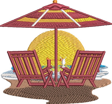 Embroidery Design: Beach Chair Scene Med 4.03w X 3.75h