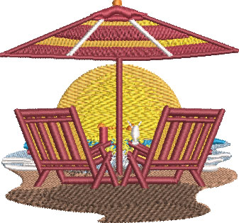 Embroidery Design: Beach Chair Scene Sm 3.51w X 3.28h