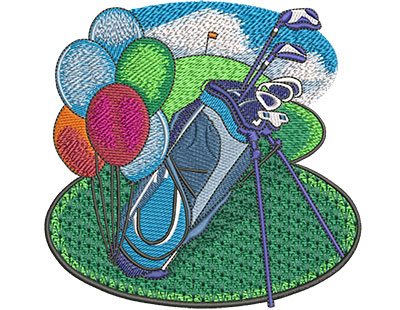Embroidery Design: Retirement Golf Med 4.99w X 4.84h